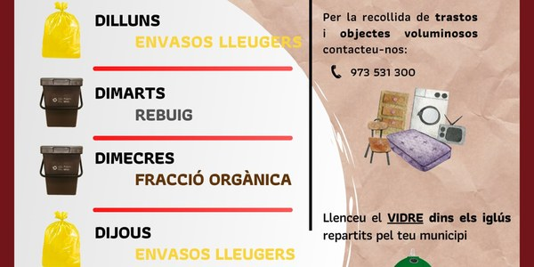 Calendari de la recollida de residus.