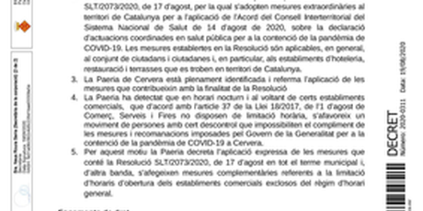 DECRET DE LA PAERIA .- Mesures i recomanacions extraordinàries contenció de la pandèmia de COVID-19 a Cervera (amb data 19 d'agost de 2020)
