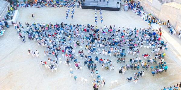 Vista aèria dels lluïments de la Festa Major Petita, a Cal Racó (foto Marc Llorens).