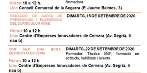 """La Paeria de Cervera i el Consell Comarcal de la Segarra impulsen una nova edició dels """"Dimarts Feiners"""""""