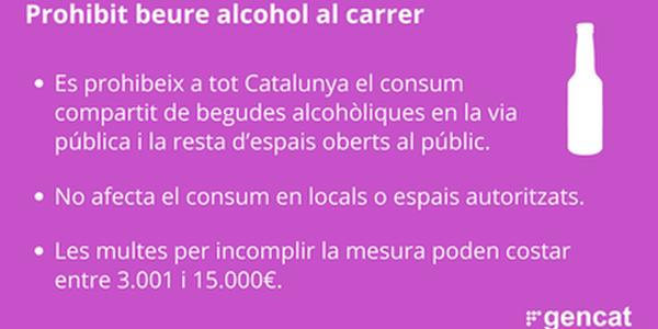 Prohibició del consum d'alcohol en grup a la via pública