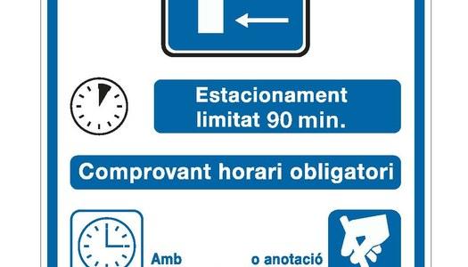 Zona blava gratuïta amb control horari al centre de Cervera